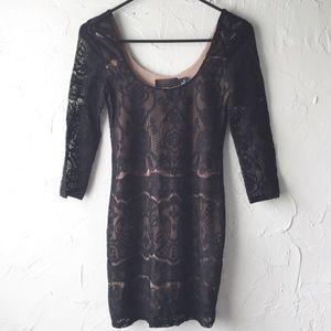 H&M Black Lace Overlay Sleeved Mini Dress Size XS